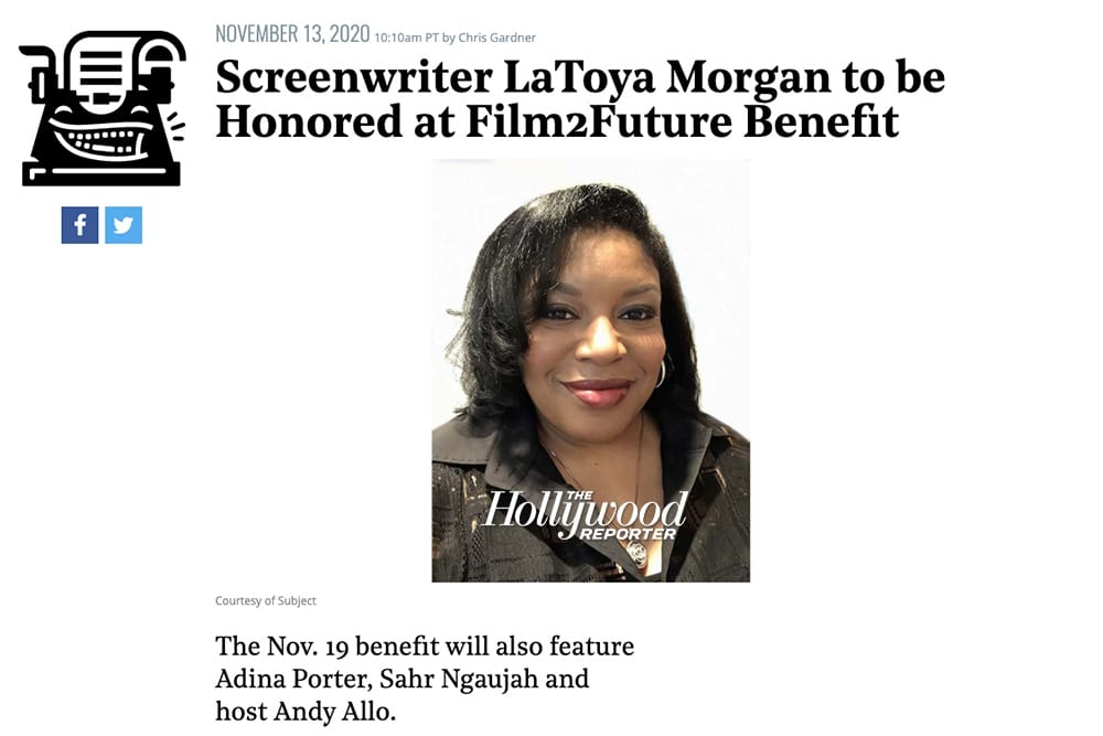 The Hollywood Reporter Press About LaToya Morgan being Honored at Film2Future Benefit
