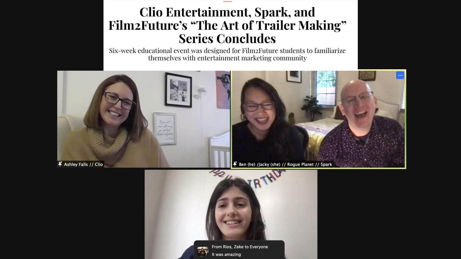 """Clio Entertainment, Spark, and Film2Future's """"The Art of Trailer Making"""" Series Concludes"""